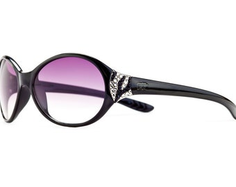 Subtly Crystalized Zebra Series Designer Rounded Sunglasses With Violent Gradient Shades And Striped Pattern Swarovski Crystals