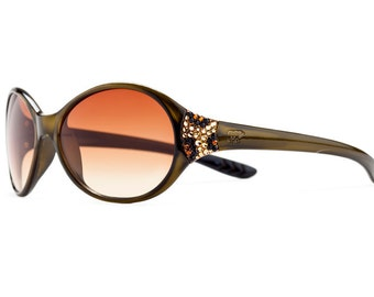 Subtly Crystalized Leopard Series Designer Rounded Sunglasses With Amber Gradient Shades And Leopard Pattern Swarovski Crystals