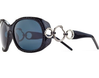 Silver Shade Link Oversized Sunglasses Encrusted With Swarovski Crystals
