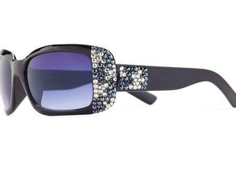 Exotic Splash Designer Sunglasses With Brown Shades And Leopard Patterned Swarovski Crystals