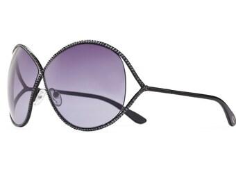 Umbra Shadow Oversized Aviator Sunglasses With Indigo Shades And Hematite Swarovski Crystals