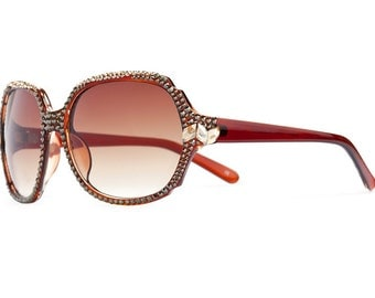 Luring Calypso Designer Sunglasses With Brown Shades And Bronzes Toned Swarovski Crystals