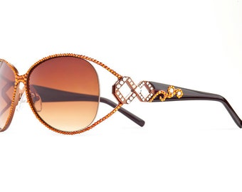Diamond Swirl Framed Designer Sunglasses With Brownish Shades And Copper Trimming Swarovski Crystals