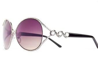 Diamond Dew Drop Aviator Designer Sunglasses With Purplish Shades And Clear Swarovski Crystals