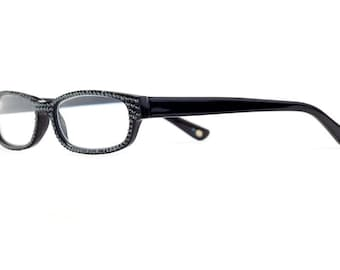 Dark Deceptive Designer Reading Glasses With Hematite Swarovski Crystals