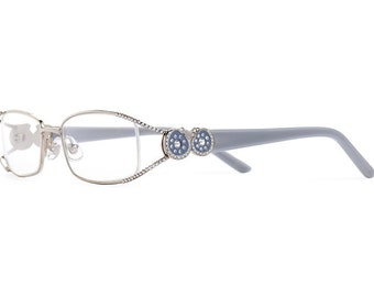 Grey Eyelet Exposed Lens Reading Glasses Layered With Silver Shade Swarovski Crystals