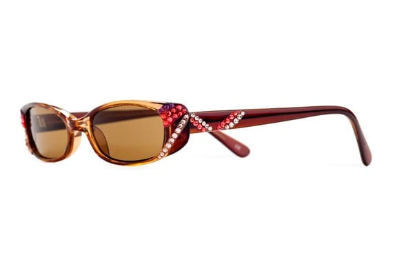 Burnt Red Designer Sunglasses With Brown Shades And Warm Toned Swarovski Crystals
