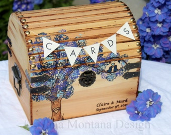 Wedding Card Keepsake Box, Personalized Rustic Love Letter Treasure Chest You choose the colors