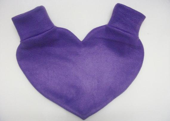 Purple Heart Shaped Lovers Mitten Snuggle down for warm romantic walks