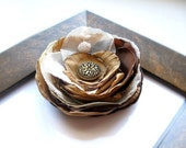 Embroidered Fabric Flower Brooch Pin or Hair Accessory- Chocolate,  Antique Golden and Ivory