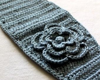 Crochet PATTERN for Headband/Earwarmer with Flower - an original PDF PATTERN