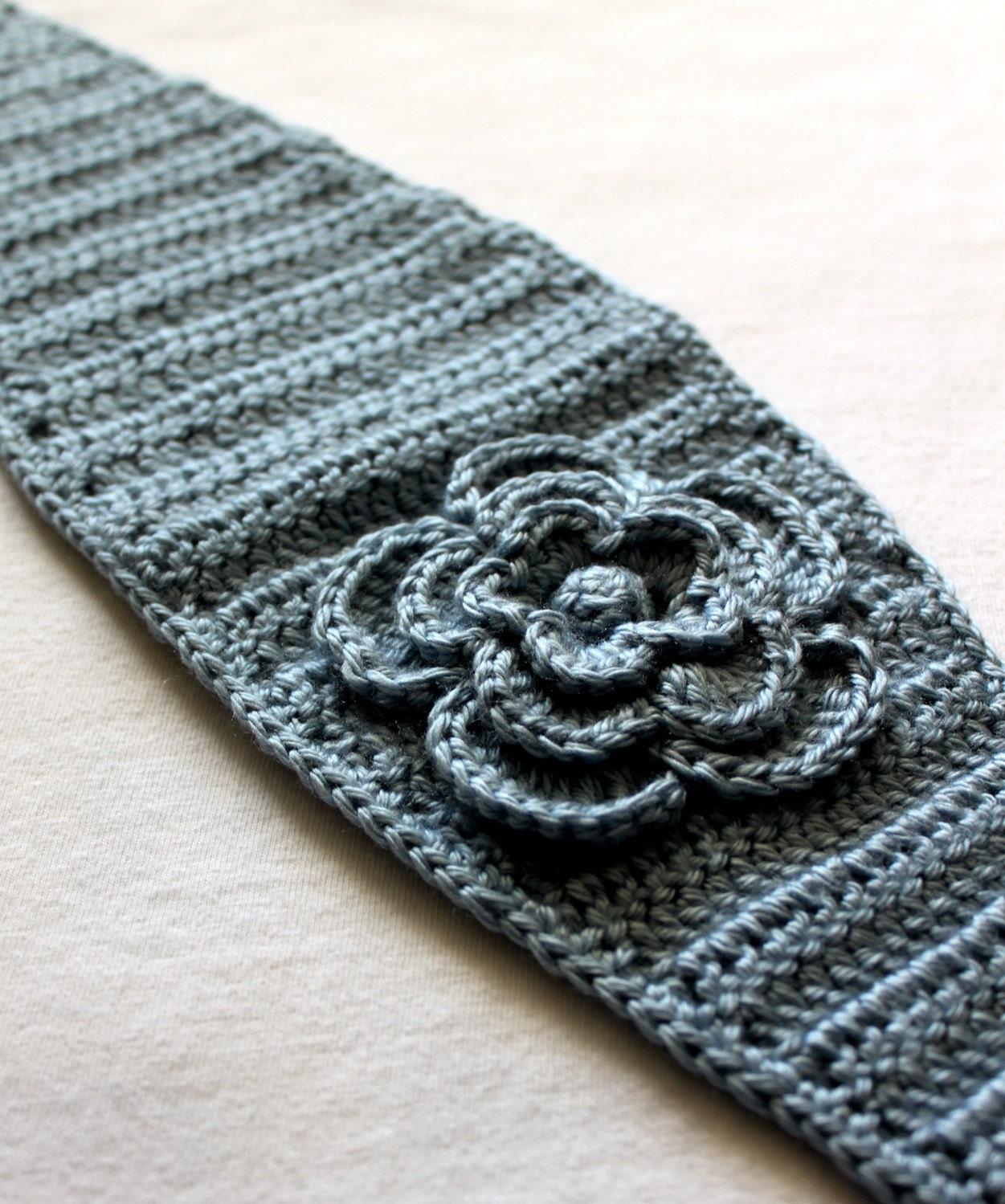 Blue Hand Crocheted Headband Earwarmer With Flower