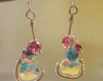 silver wire drop earrings with Swarovski elements