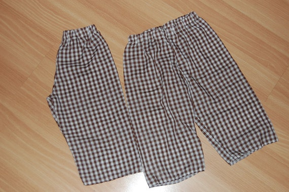 Boys Gingham Pants in Brown size 12-18 mos