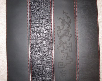 Black leather guitar strap, OLD 70 series