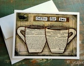 Coffee Card: Coffee for Two Card 4 x 5.5 blank greeting card, note card, notecard, Mixed Media, Whimsical coffee art, brown, tan, ivory
