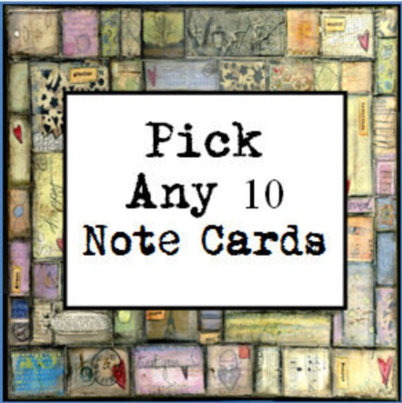 Mixed Media Art, Pick any 10 Note Cards - greeting cards, notecards, mixed media art, whimsical art, folk art, inspirational art