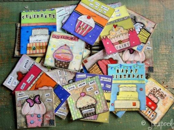 Art Stickers: 50 Cupcake Stickers - Cupcake Art, Cake Art, Cake Stickers, Original Art Stickers, Cupcake Envelope Seals