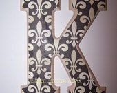Wooden Wall Letter  Design 18 Fleur De Lis -  Comes with Your Choice of Ribbon or Velcro