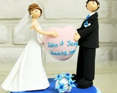 Holding heart balloon custom wedding cake topper deco gift keepsake