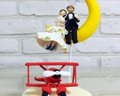 Fly to the moon with red plane custom wedding cake topper decoration gift keepsake