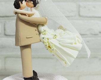 Custom Cake Topper -The bride threw herself into the groom's arms-
