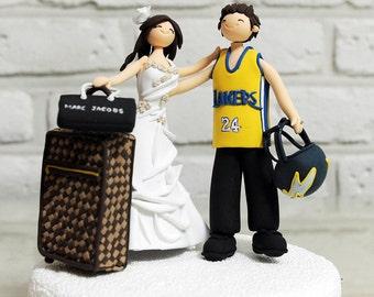 Football Basketball team uniform custom wedding cake topper, Decoration - LA Lakers