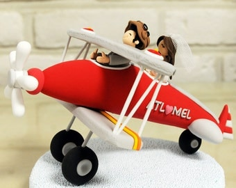 Red biplane, airplane custom wedding cake topper decoration gift keepsake