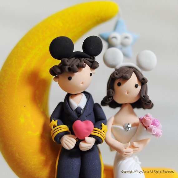 mickey ears wedding cake topper items similar to on the moon with mickey ears 17351