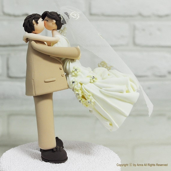 Etsy Wedding Cake Decorations : Cute lovely couple wedding cake topper gift by annacrafts ...