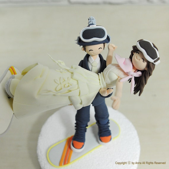 skiers wedding cake toppers snow board ski custom wedding cake topper decoration gift 20178