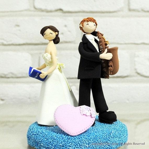 Custom Wedding Cake Topper - Teacher and music mania - gift decoration