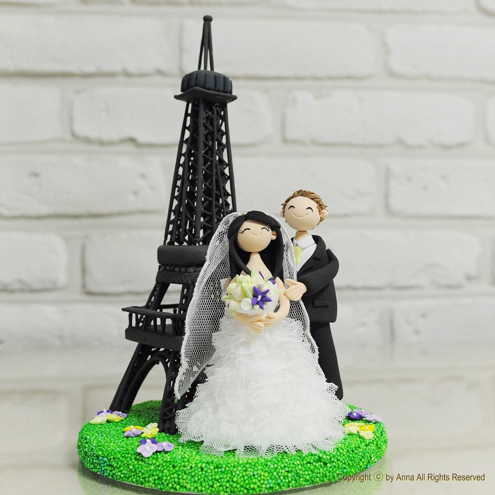 paris wedding cake topper eiffel tower personalized wedding cake topper gift 18118