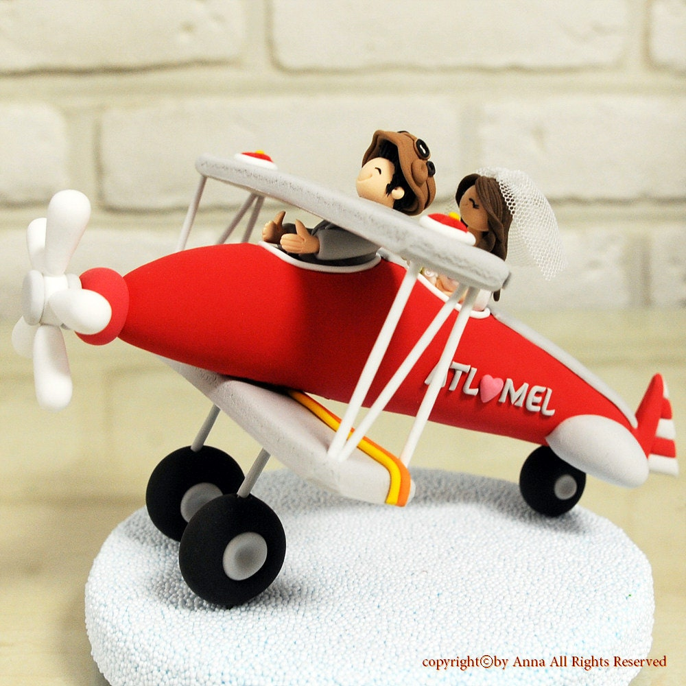airplane themed wedding cake topper biplane airplane custom wedding cake topper decoration 10640