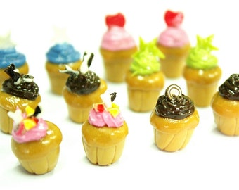 6 Miniature Sweet Heart Cupcake Polymer Clay Foods Supplies for Beaded Jewelry Charms