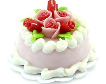 Strawberry Cheese Cream Mini Cake with Pink Roses, 2.0 cm