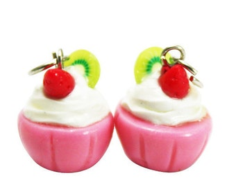 6 Miniature Strawberry Cupcake Polymer Clay Foods Supplies for Beaded Jewelry Charms