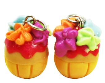Miniature Colorful Cupcake Polymer Clay Foods Supplies for Beaded Jewelry Charm, 2 pcs
