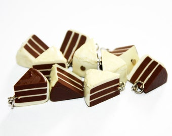 Miniature Chocolate Cake Polymer Clay Foods Supplies for Beaded Jewelry Charm, 10 pcs
