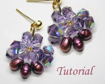 Beading Tutorial - Beaded Vanda Orchid Earrings
