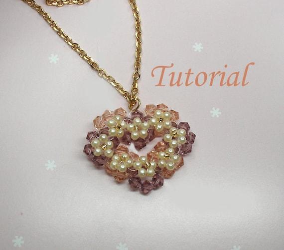 Beading Tutorial - Beaded SweetHeart Garland Pendant How To Make Beaded Heart Pendant Pattern Flower Heart Love Beadweaving Pattern