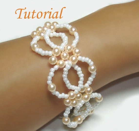 Beading Tutorial - Bead Interlocking Bracelet Pattern, Beaded Bracelet Tutorial, Pearl Bracelet Pattern, Beads Pattern Instructions