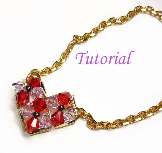 Beading Tutorial - Beaded V for Valentine Pendant