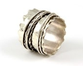 Waves And Wires sterling silver Spinner Ring