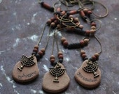 Jerusalem menorah necklace/Bronze necklace/Handmade clay beads/Menorah pendant/Religious/Earth color//Bat mitzva gift