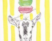"""Lola the Goat who Loves Macarons- 8.3"""" x 11.7"""" Limited Edition Illustration Art Print"""