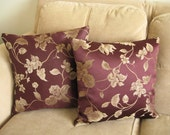 Pillow Covers 18x18  -  Aubergine and Vine Set of 2
