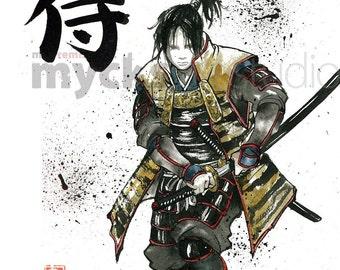 PRINT Samurai with a painting of Samurai Drawing a Sword