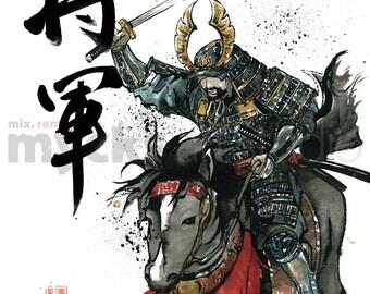 SHOGUN, Samurai General on a Horse with Sword Drawn 8x10 PRINT