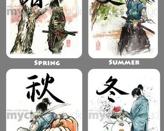 4 Piece SET Samurai 4 Seasons 8x10 PRINTS by Mycks Sword, cherry blossoms, sunlight, snow, pumpkins